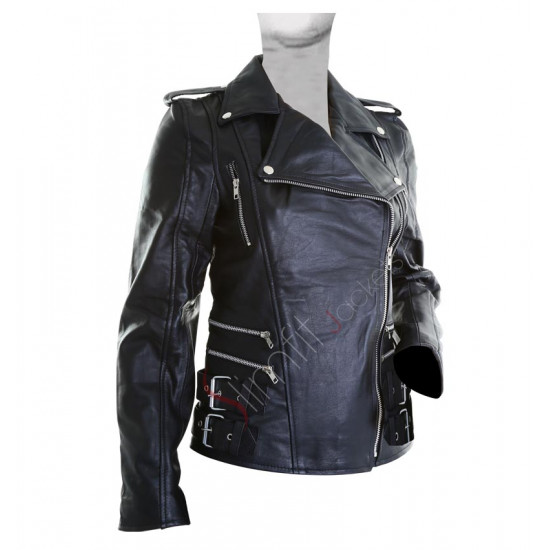 Brando Women Black Motorcycle Leather Jacket