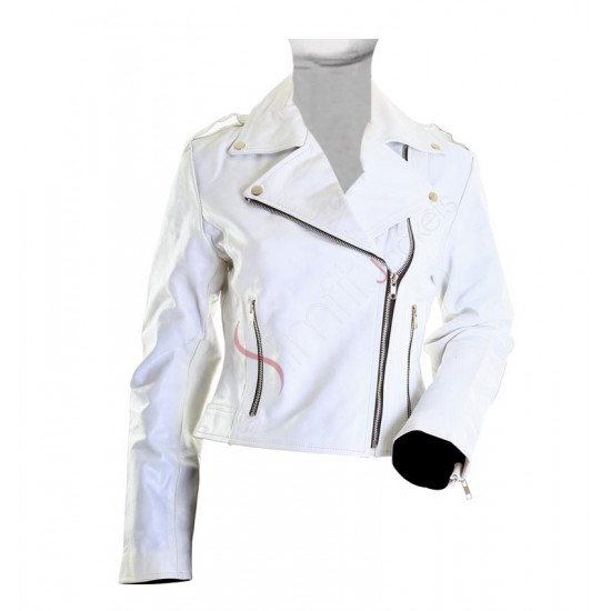 Brando White Motorcycle Ladies Rider Leather Jacket