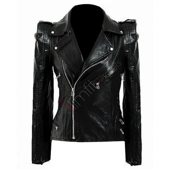 Grab Kate Moss Black Biker Leather Jacket For Women