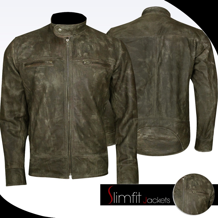 Cafe Racer Motorcycle Distressed Brown Leather Jacket