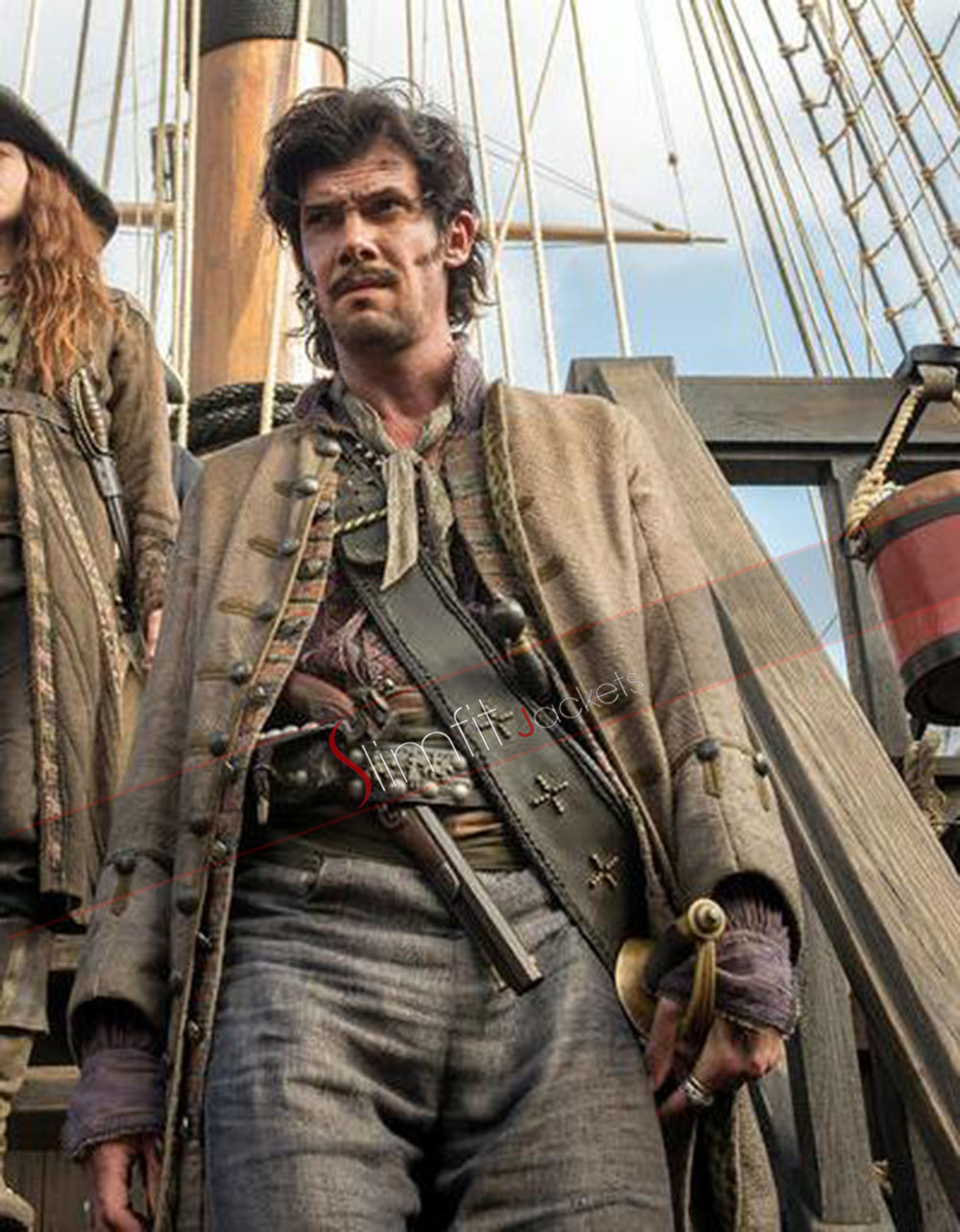 Black sails s3 pirate captain flint leather coat - Add To Compare
