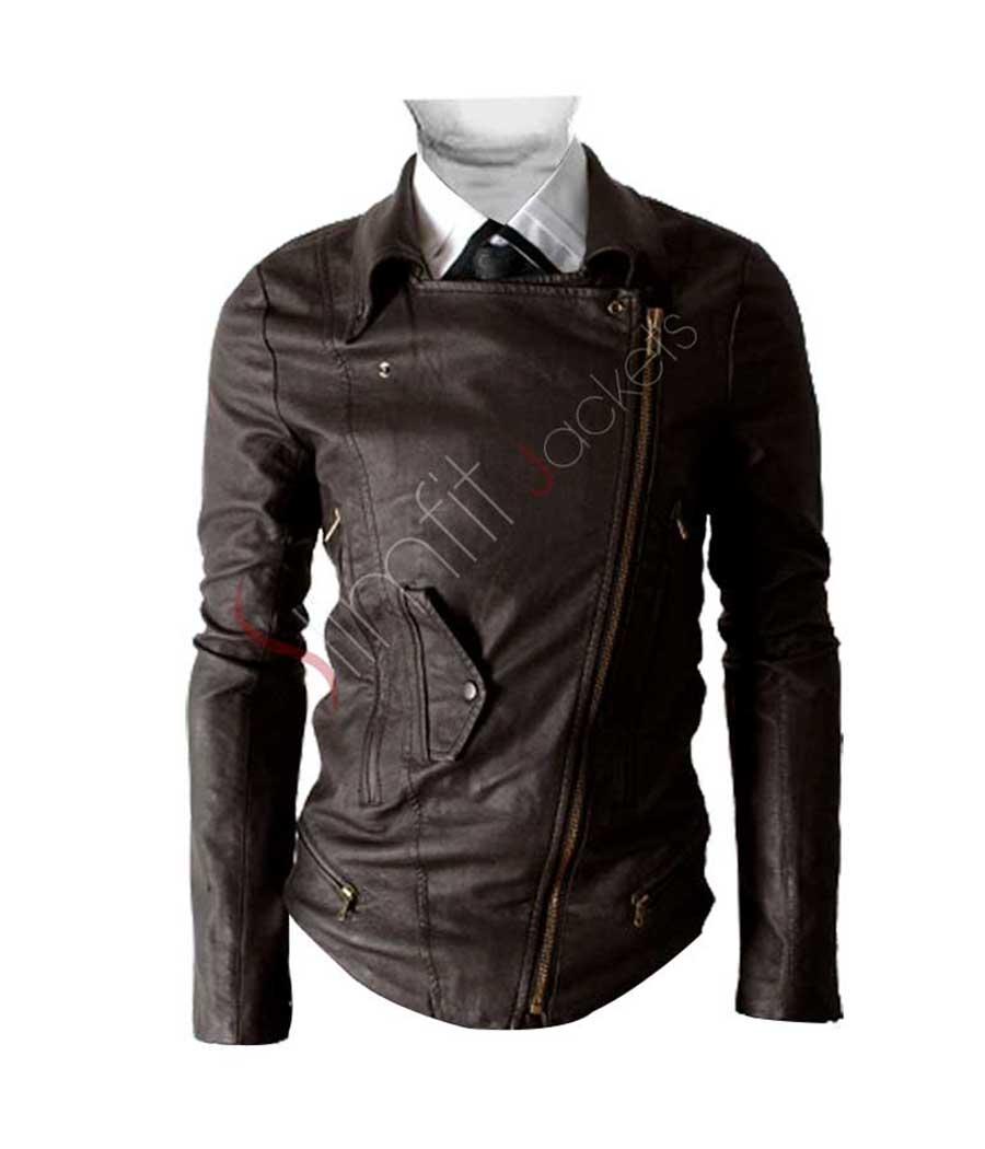 13b6a720f Retro Men's Black Classic Biker Style Leather Jacket