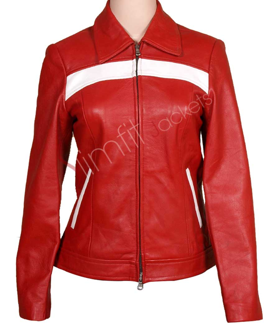 Slim Fit Red Women S Leather Motorcycle Jacket Sale